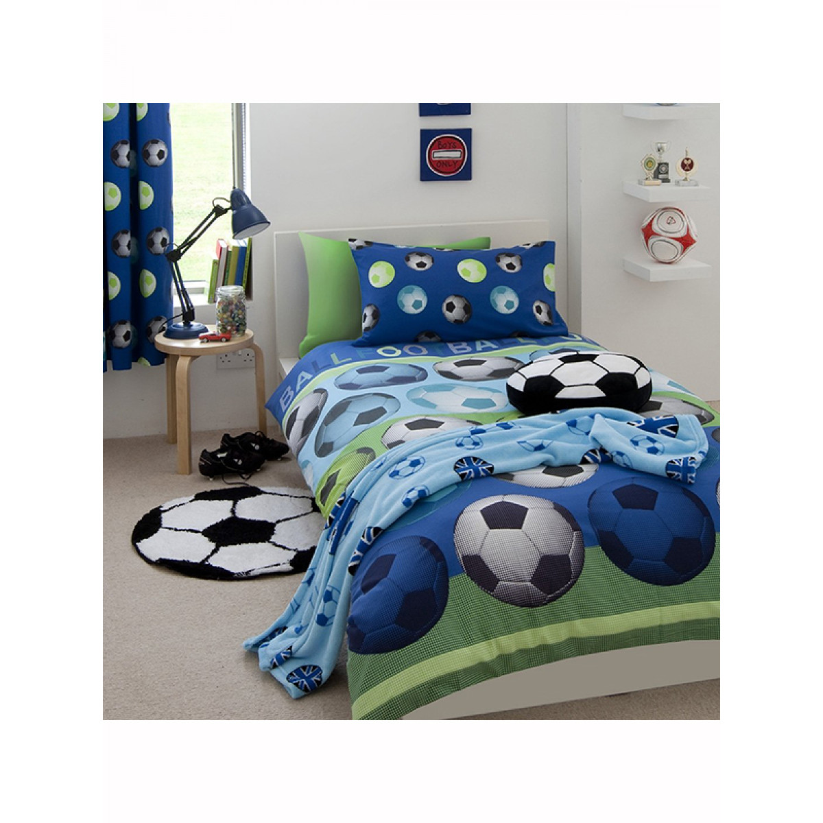 Catherine lansfield football blue single duvet cover set for Housse de couette toy story