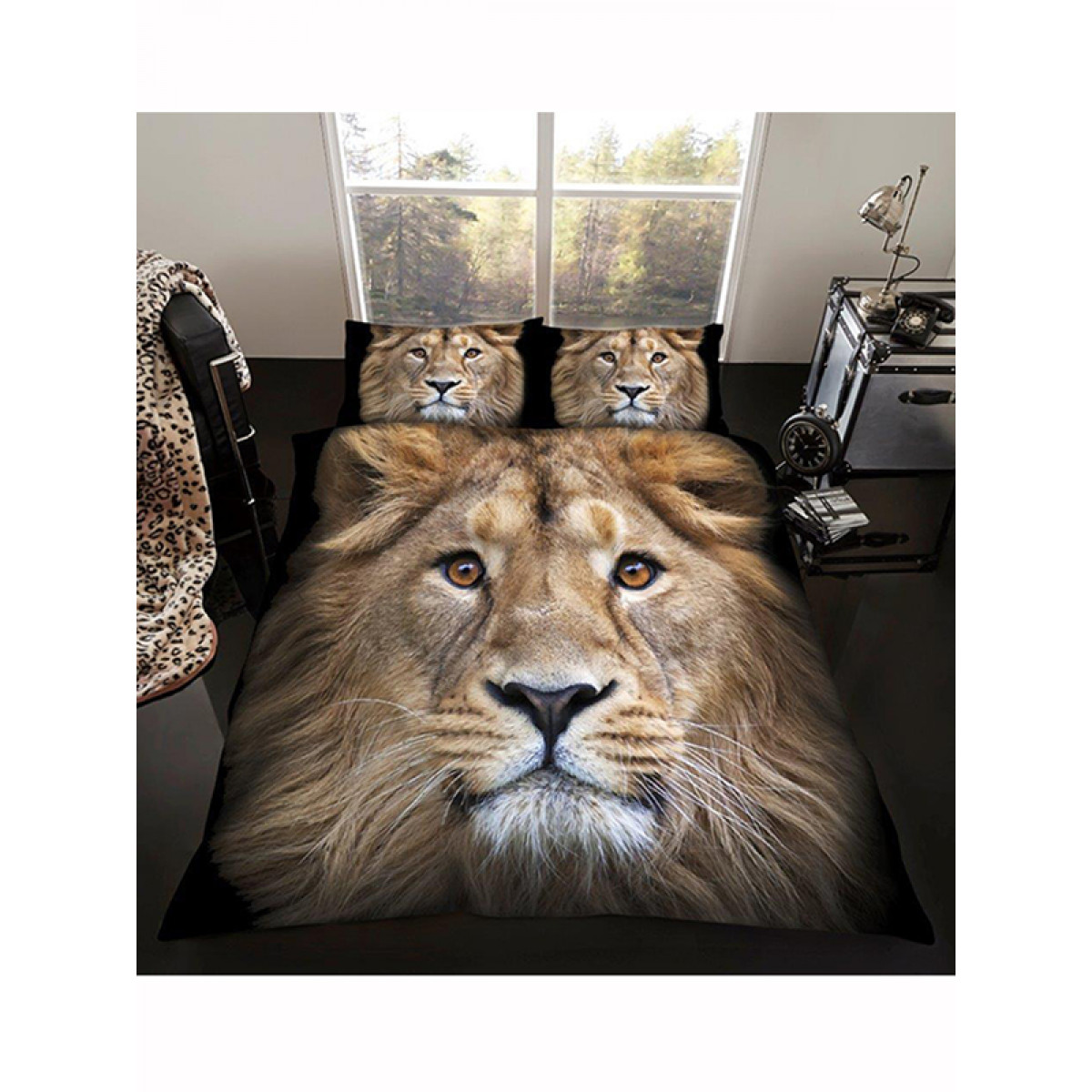Lion Double Duvet Cover And Pillowcase Set Bedroom Bedding
