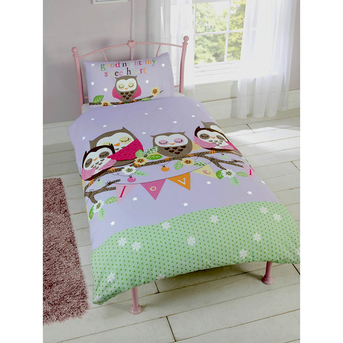 Goodnight sweetheart owls single duvet cover and for Housse couette vache