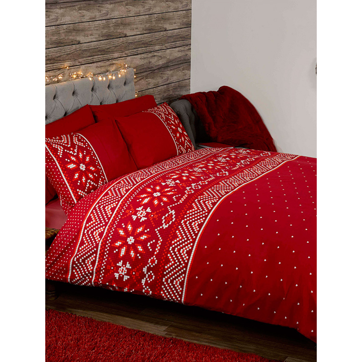 Nordic Christmas Double Duvet Cover And Pillowcase Set