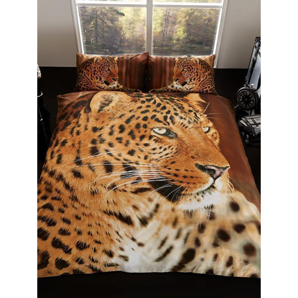 3d Leopard Double Duvet Cover And Pillowcase Set Bedroom