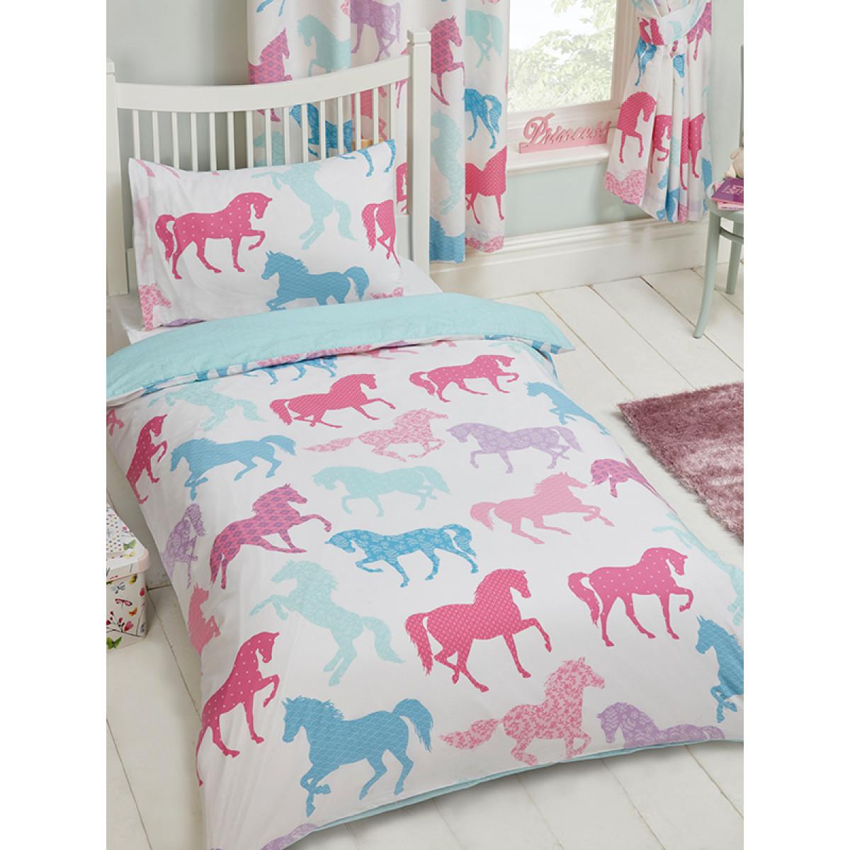 Patchwork Ponies Junior Duvet Cover And Pillowcase Set