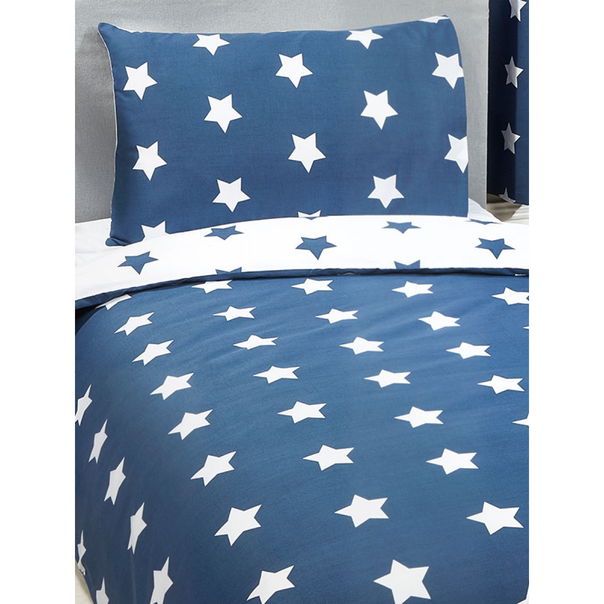 Navy Blue And White Stars Junior Duvet Cover And Pillowcase Set Bedding