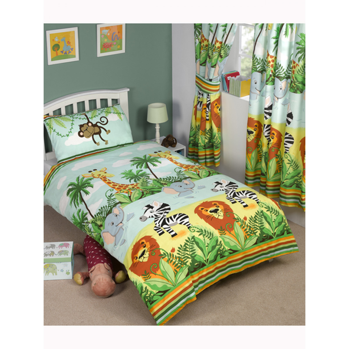 jungle tastic junior duvet cover and pillowcase set toddler. Black Bedroom Furniture Sets. Home Design Ideas