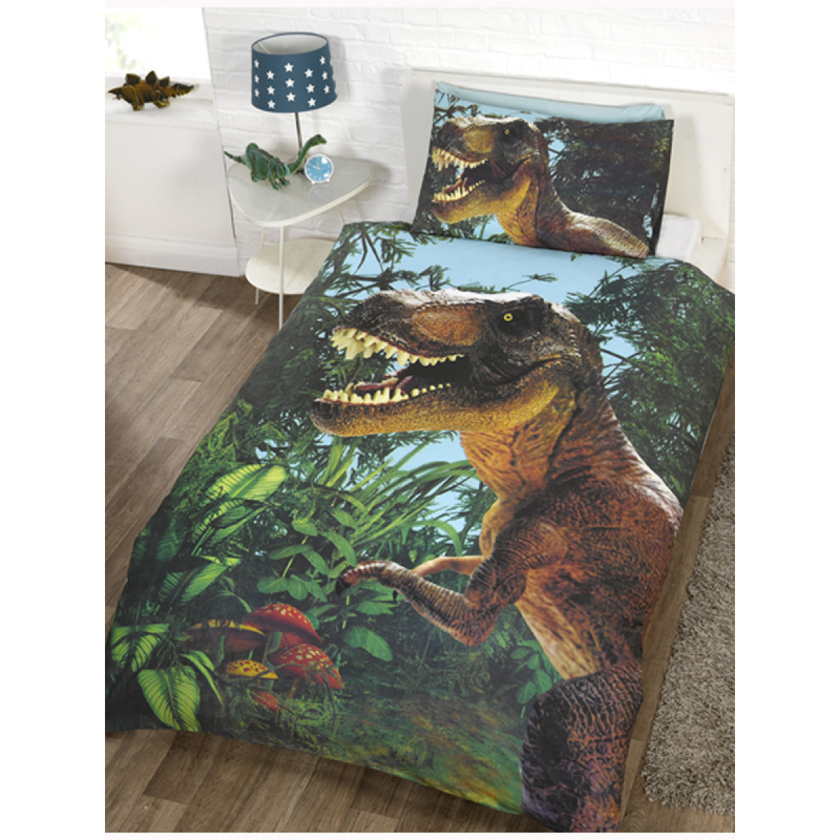 Jurassic t rex dinosaur single duvet cover set bedroom for T rex bedroom decor