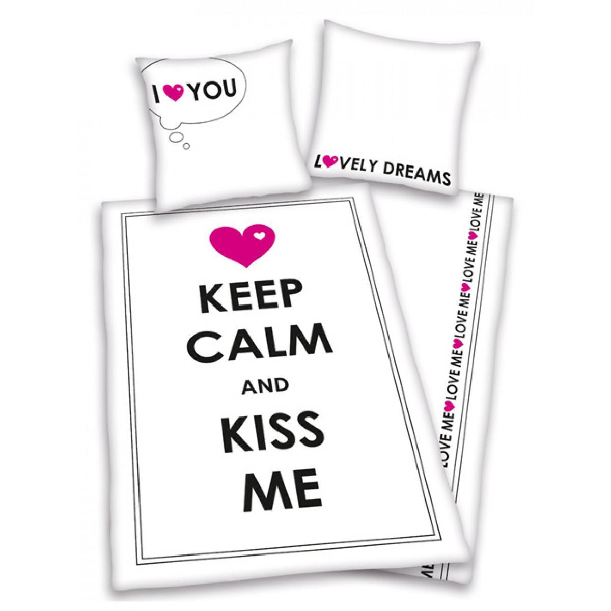 Set Copripiumino E Federa Singolo Keep Calm Kiss Me