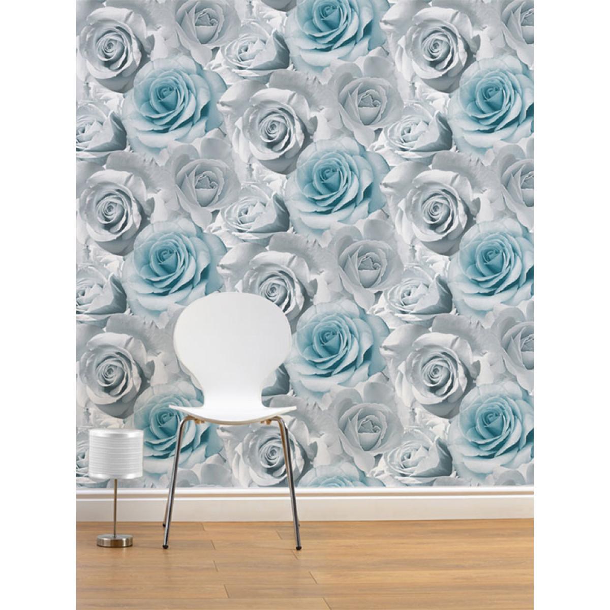 Madison Rose Floral Wallpaper Blue 119503