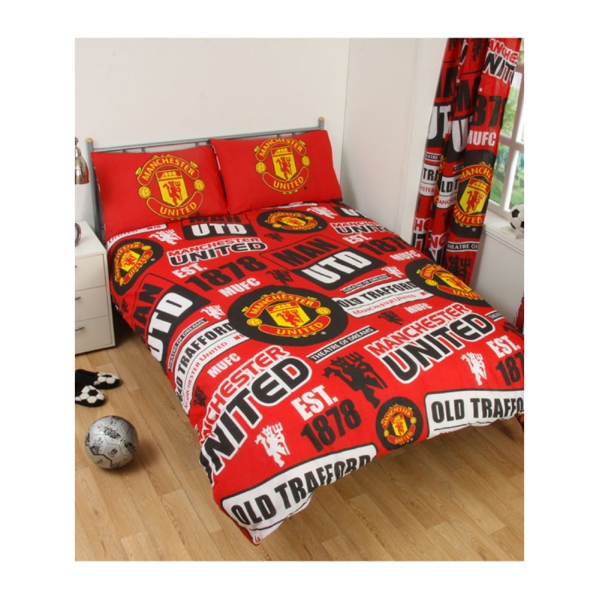 Manchester United Fc Patch Double Duvet Cover And