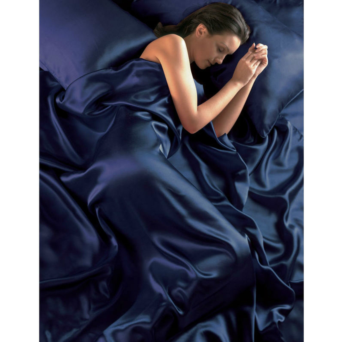 Navy Blue Satin Double Duvet Cover Fitted Sheet And 4