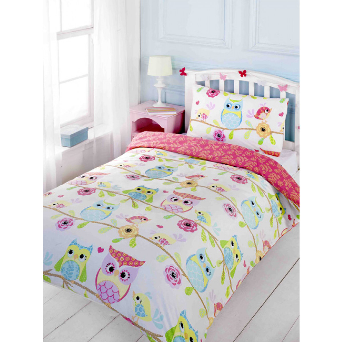 Owl And Friends Double Duvet Cover And Pillowcase Set