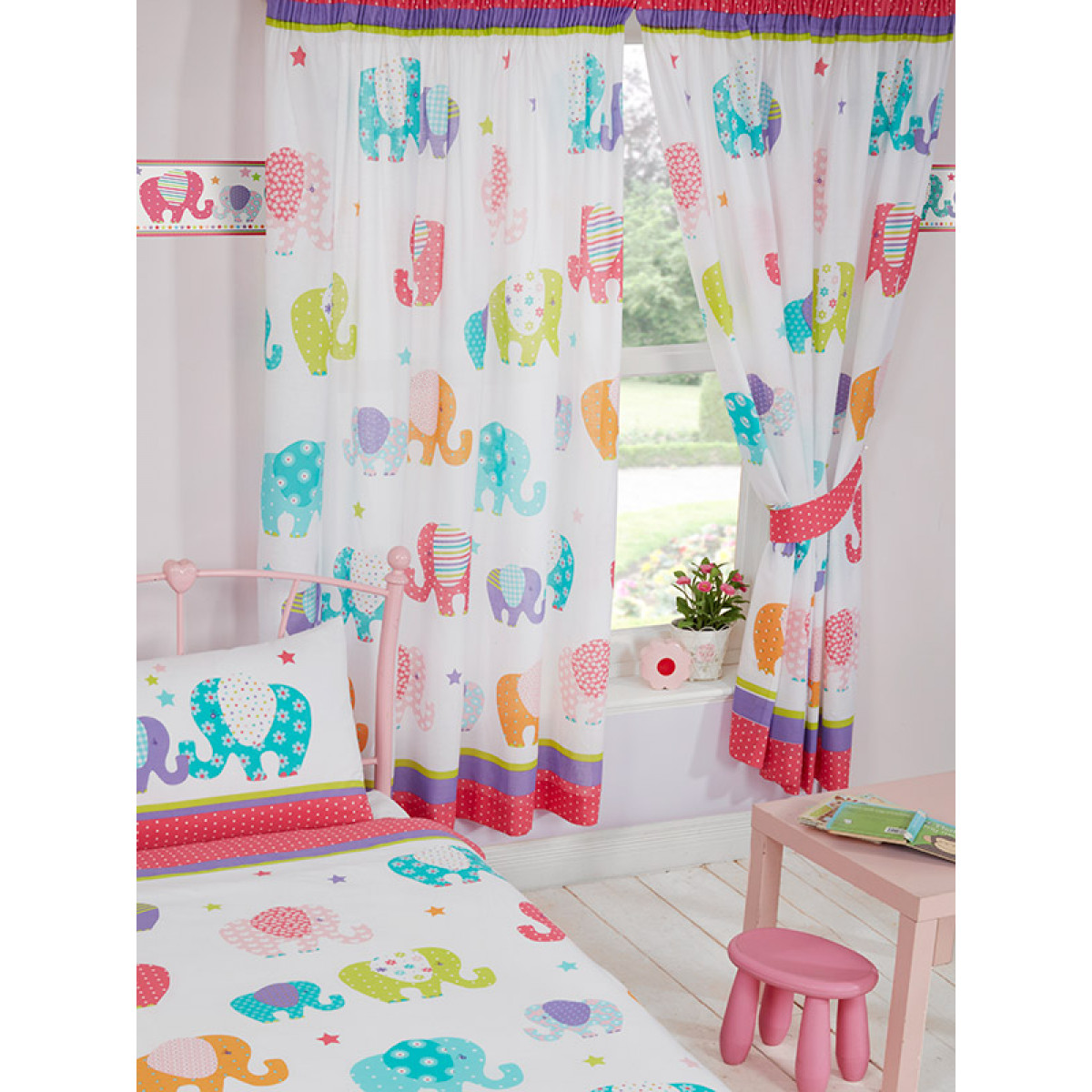 Patchwork Elephant Lined Curtains Bedroom Kids