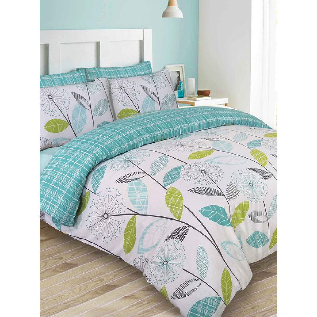 Allium Dandelion Teal Double Duvet Cover And Pillowcase