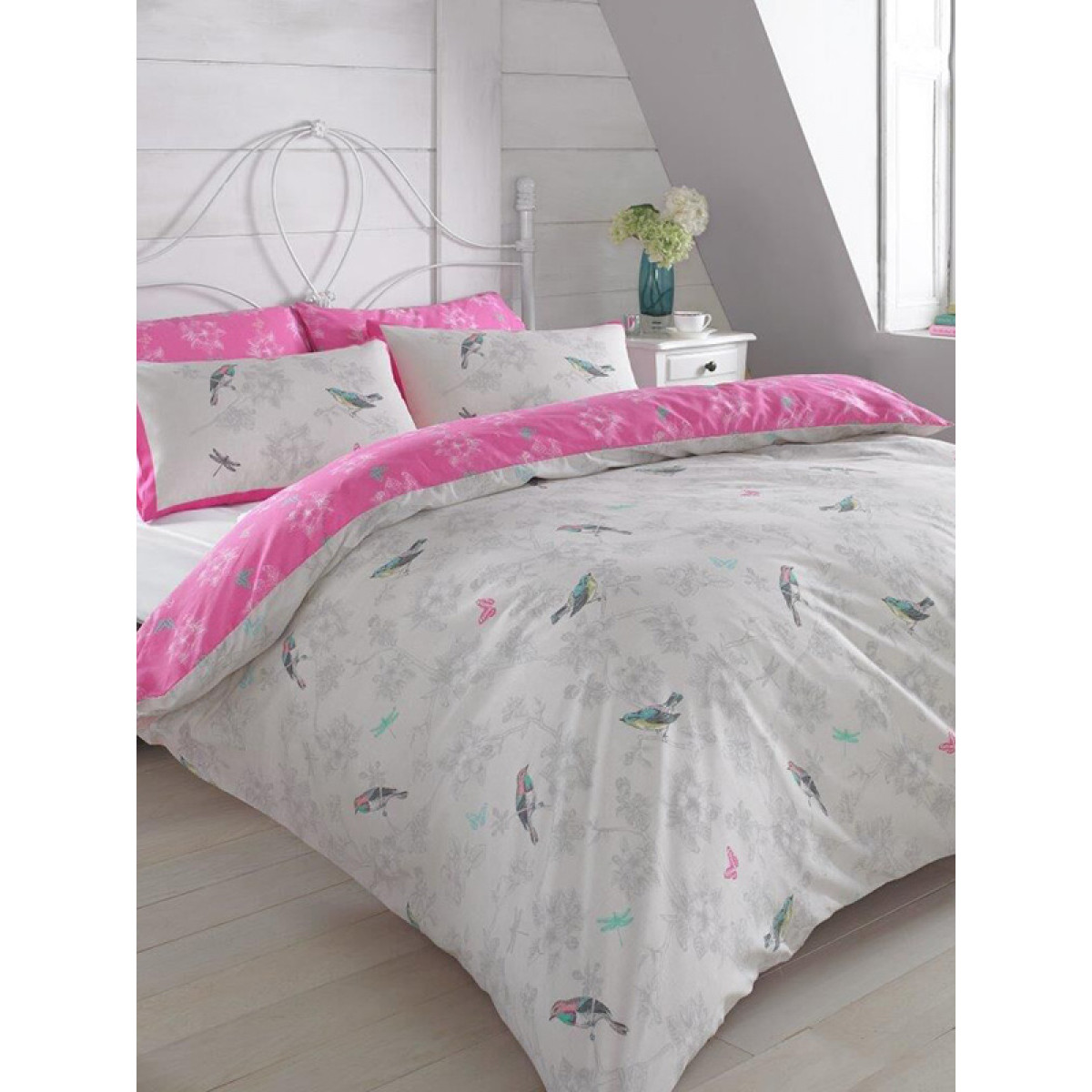 Vintage Birds Pink Single Duvet Cover And Pillowcase Set