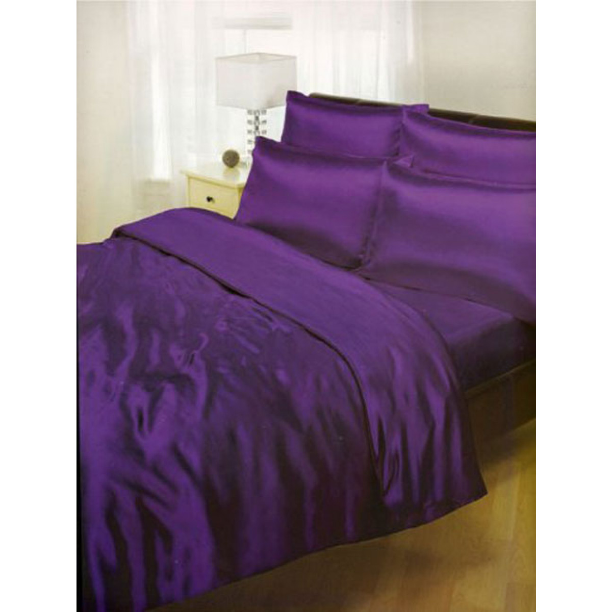 Purple Satin Super King Duvet Cover Fitted Sheet And 4