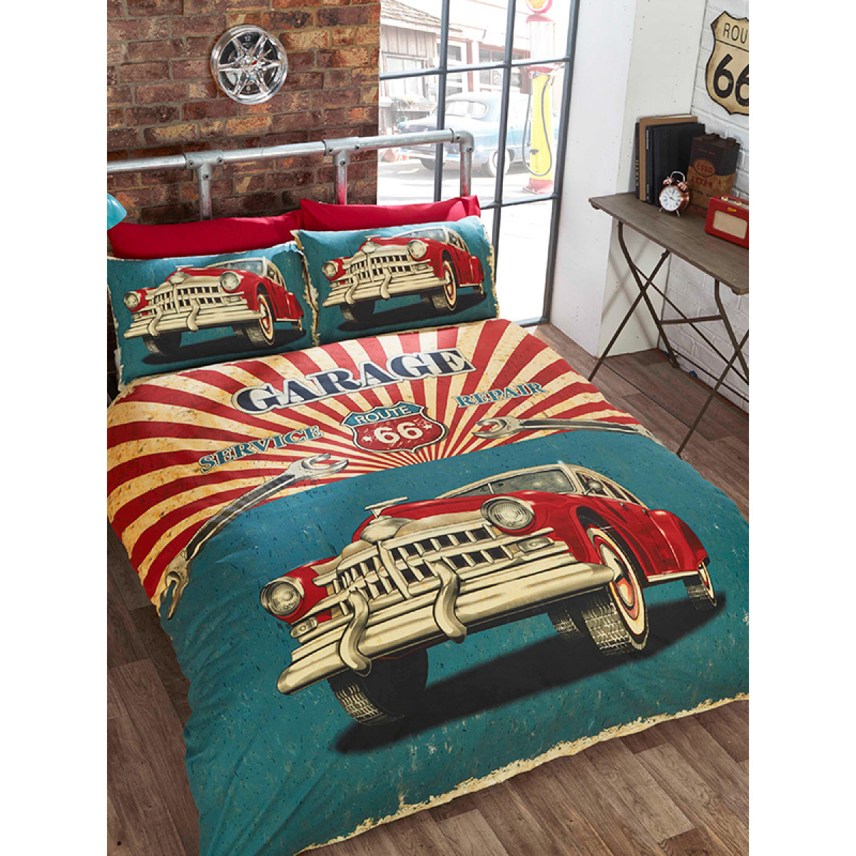 Retro Garage Double Duvet Cover And Pillowcase Set Bedroom Bedding