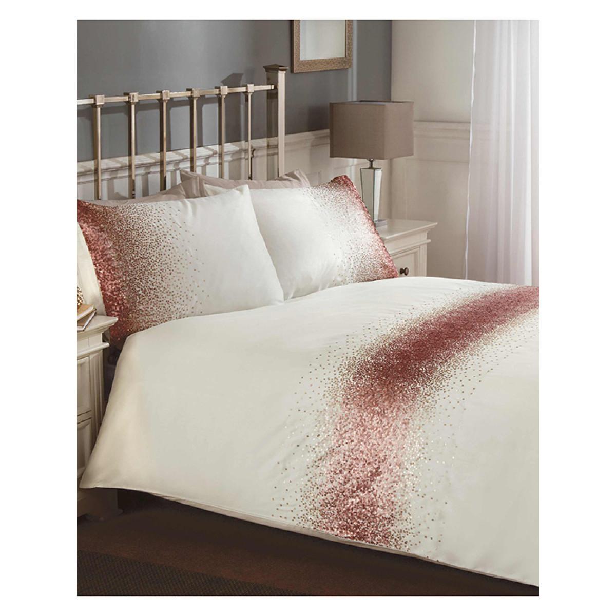 Shimmer Sequin Blush Pink King Size Duvet Cover Set Bedroom