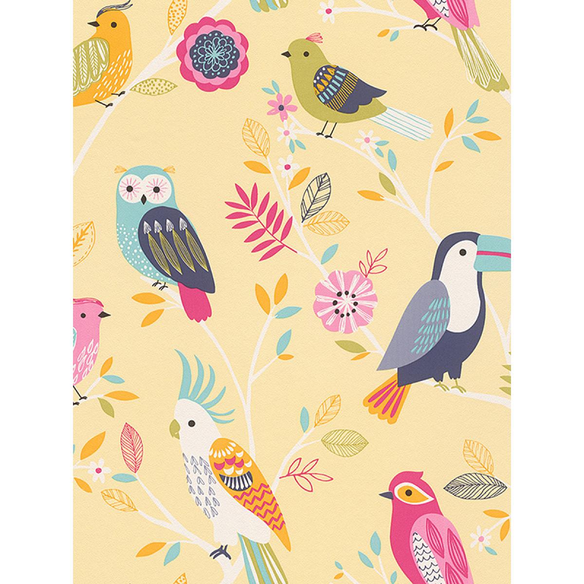 Rasch birds wallpaper yellow 293029 owl feature for Angry birds wallpaper mural