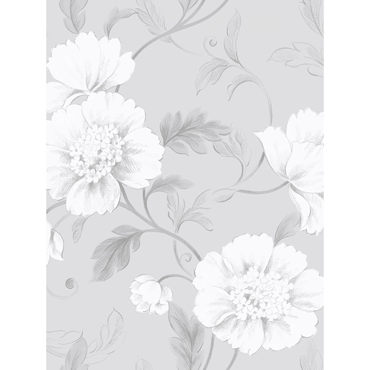Boutique floral wallpaper grey rasch 226188 feature flowers mightylinksfo