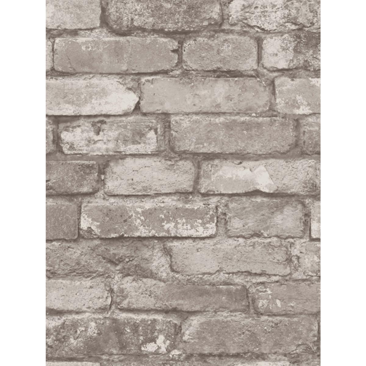 Silver Grey Brick Effect Wallpaper Fine Decor