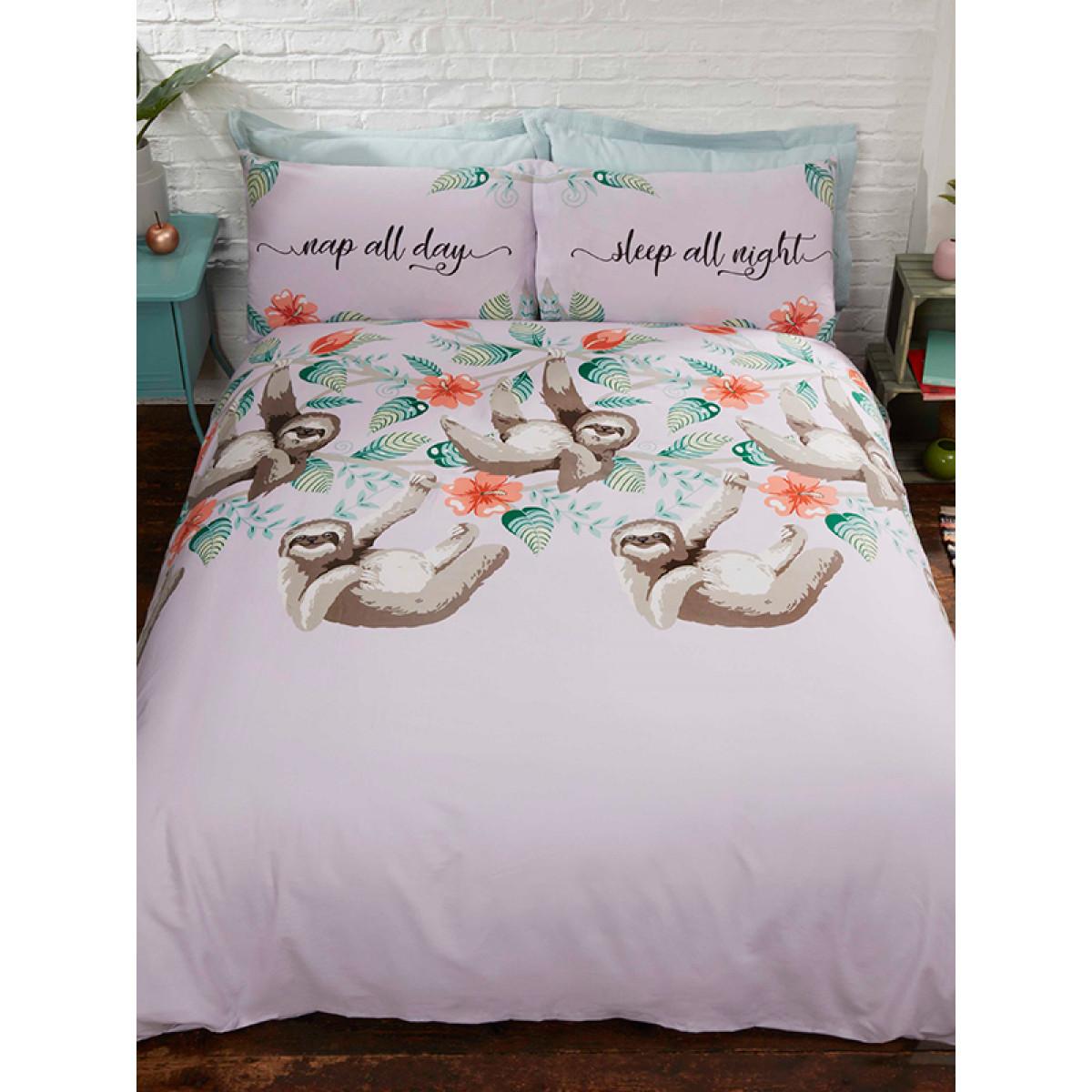 Sloth Single Duvet Cover And Pillowcase Set Bedroom