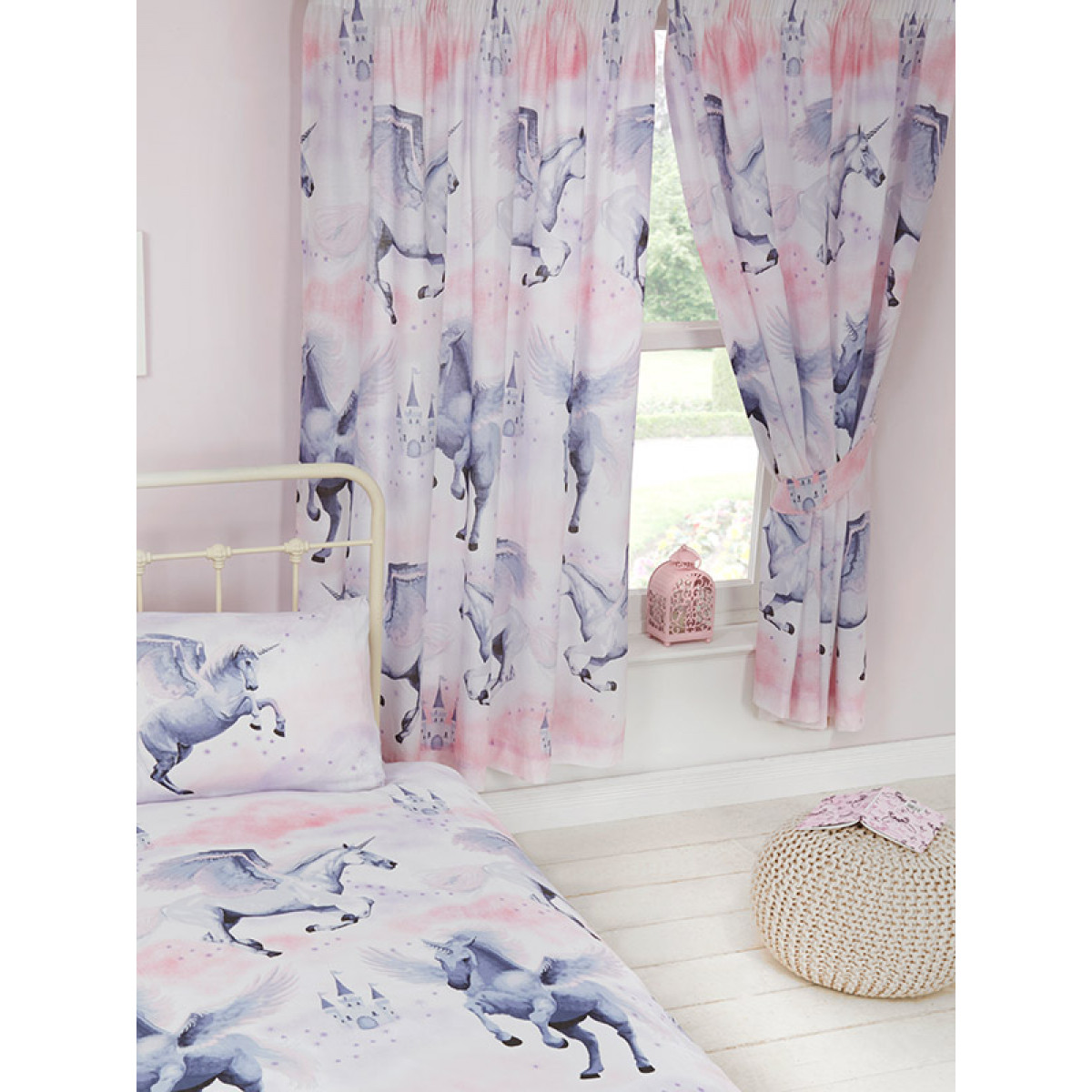 Pink Stardust Unicorn Lined Curtains For Kids Bedrooms
