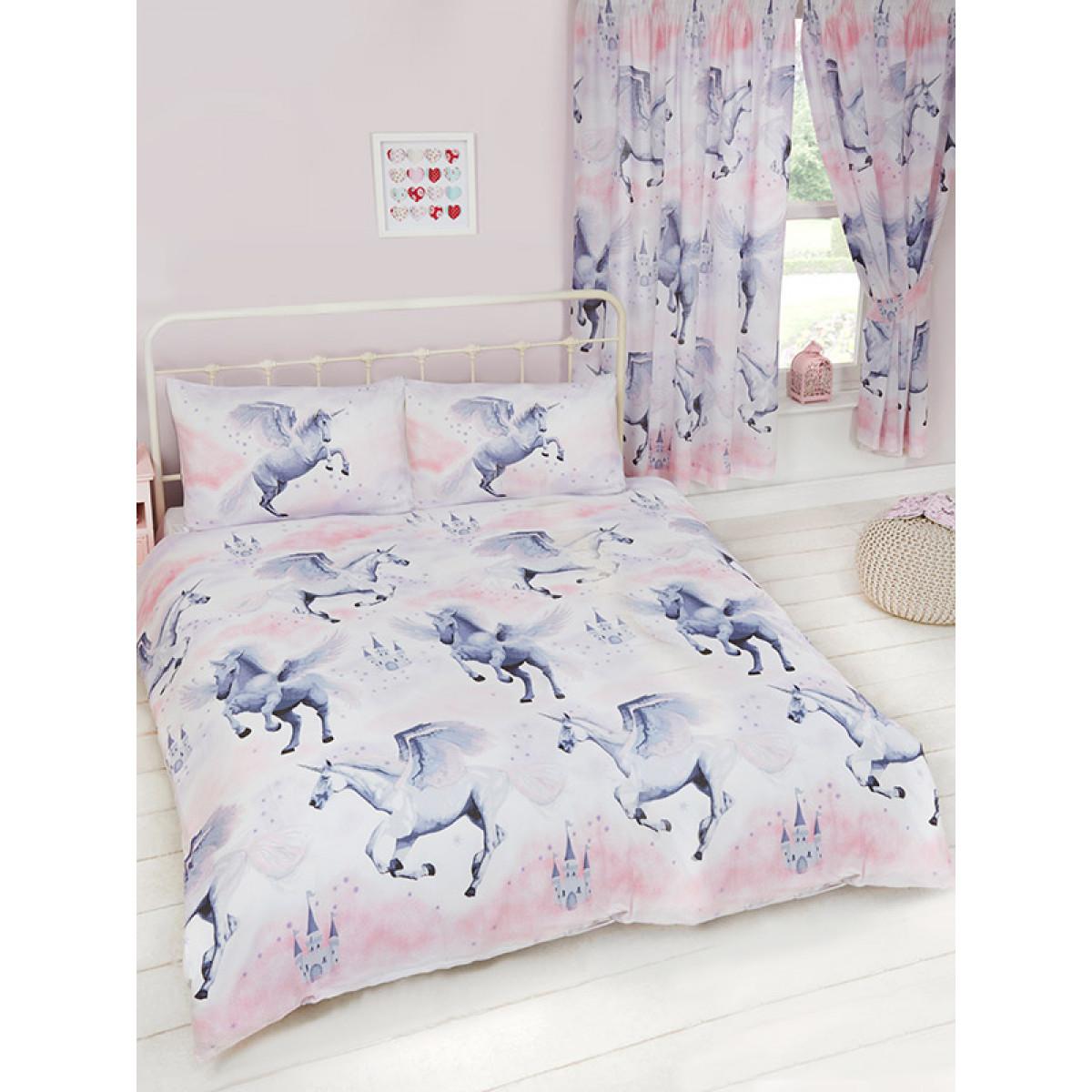 pink stardust unicorn double duvet cover pillowcase. Black Bedroom Furniture Sets. Home Design Ideas