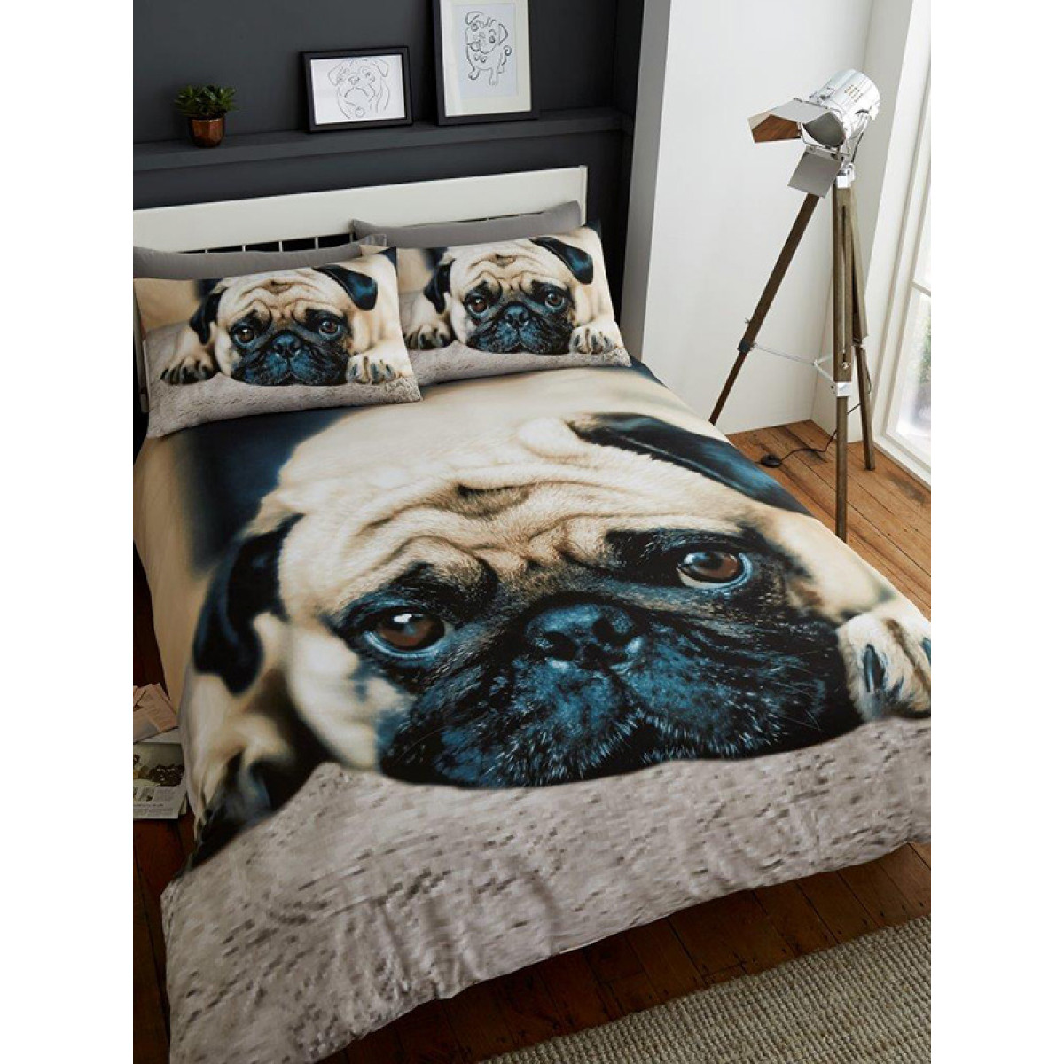 Sweet Pug Double Duvet Cover And Pillowcase Set Bedroom