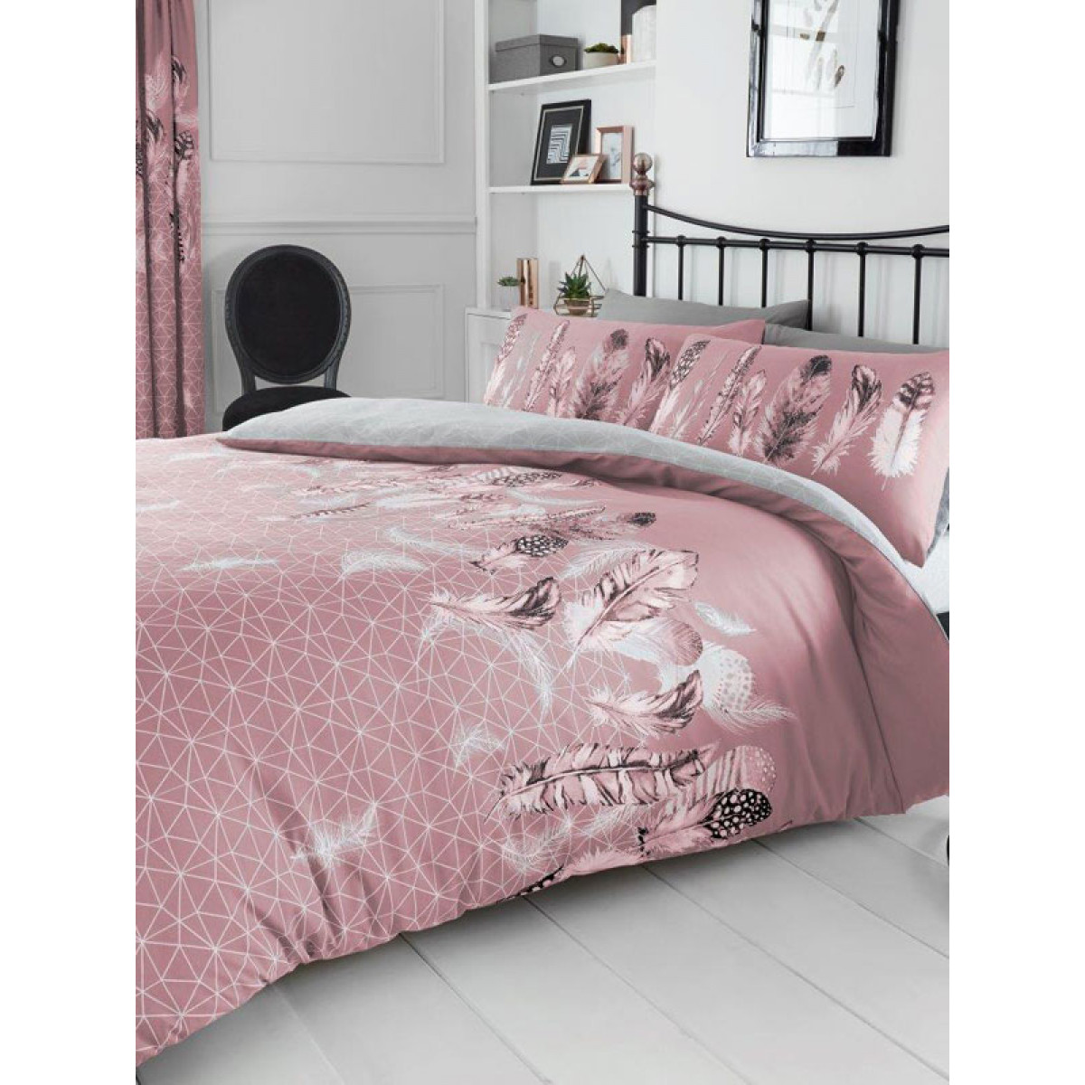 Geometric Feathers King Duvet Cover And Pillowcase Set Pink Bedding