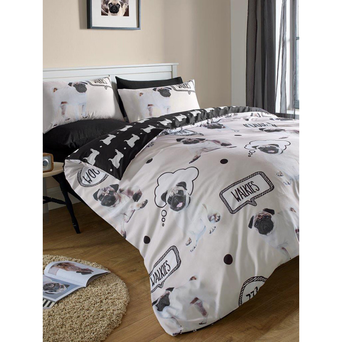 Pug Walkies Single Duvet Cover Bedding Bedroom