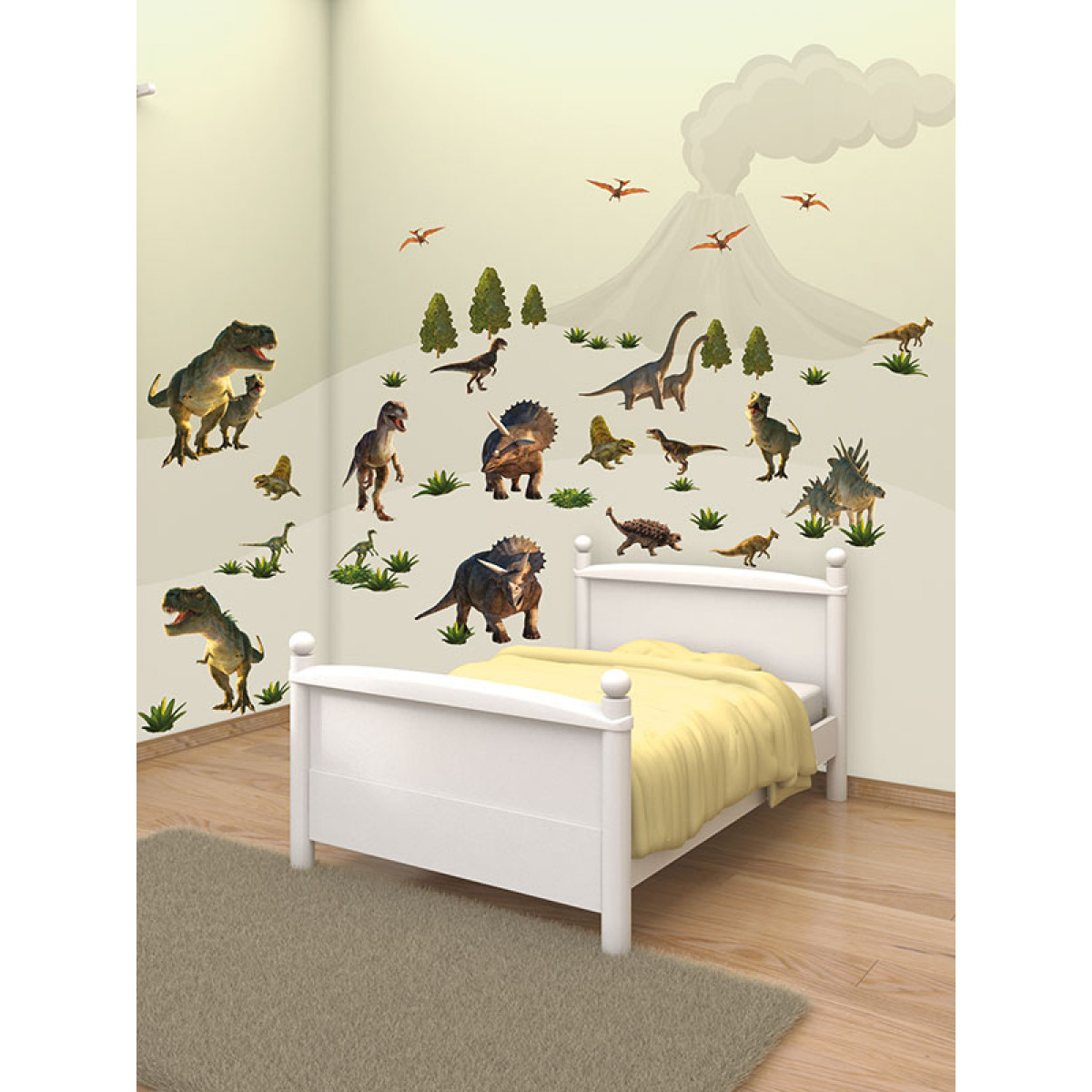 Walltastic dinosaur land room decor wall sticker kit bedroom for Dinosaur mural kit