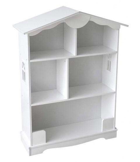 White Wooden Bookcase Dolls House Design