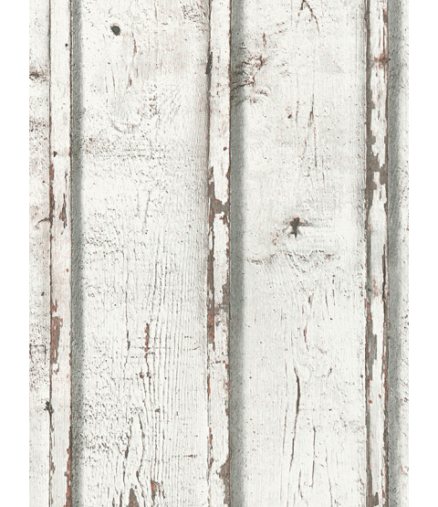 Rustic Wood Planks Wallpaper White  - AS Creation 9537-01