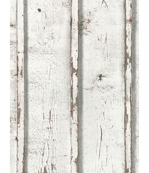 Papel pintado rústico de tablones de madera blanco - AS Creation 9537-01