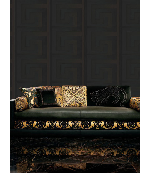 Versace Greek Key Wallpaper Black - 10m x 70cm 93523-4