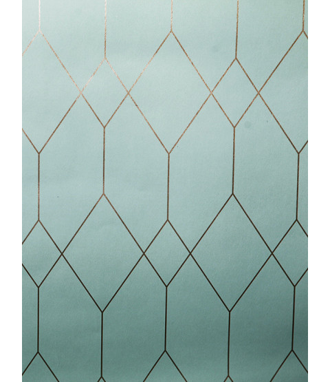 Geometric Diamond Wallpaper Teal / Copper Esprit 32792-2