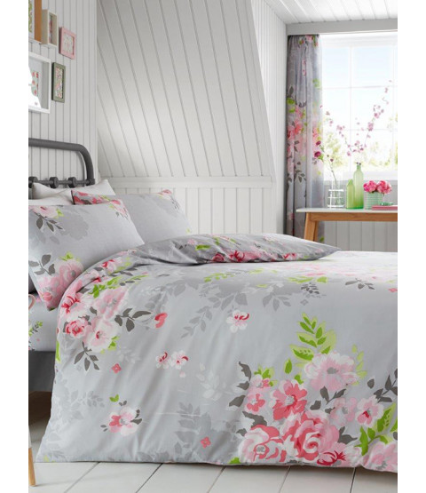 Alice Floral Double Duvet Cover and Pillowcase Set - Grey and Pink
