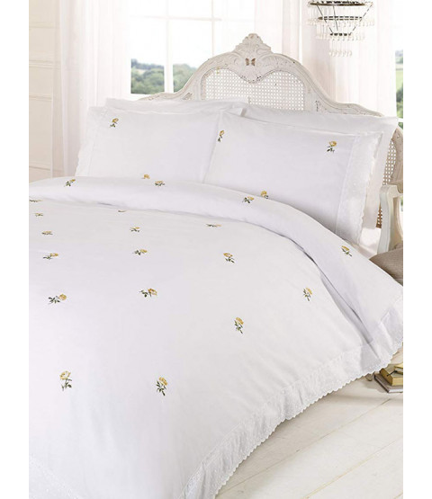 Alicia Floral White / Yellow Double Duvet Cover and Pillowcase Set