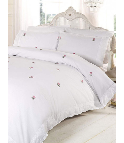 Alicia Floral White / Pink Super King Duvet Cover and Pillowcase Set