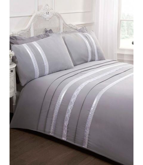 Annabella Silver King Duvet Cover and Pillowcase Set
