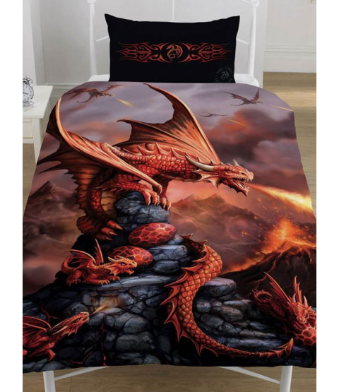 Anne Stokes Fire Dragon Single Duvet Cover and Pillowcase Set