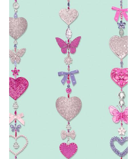 Tiffany Hearts Stripe Wallpaper - Duck Egg - Arthouse 667900