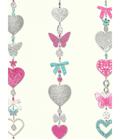 Tiffany Hearts Stripe Wallpaper - White - Arthouse 667901