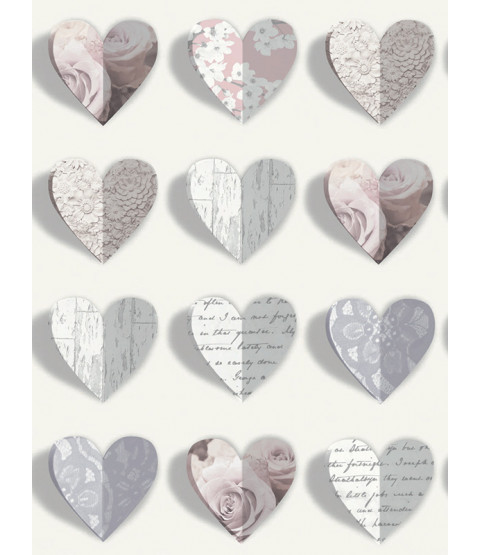 Olivia Hearts Wallpaper - Blush - 669701 Arthouse