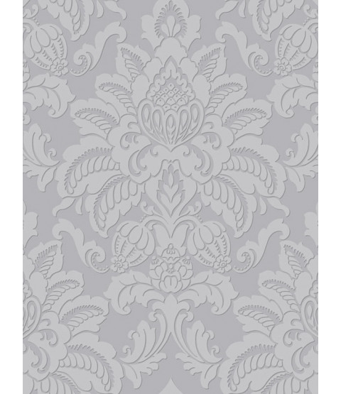 Precious Metals Glisten Damask Wallpaper - Platinum - Arthouse 673203