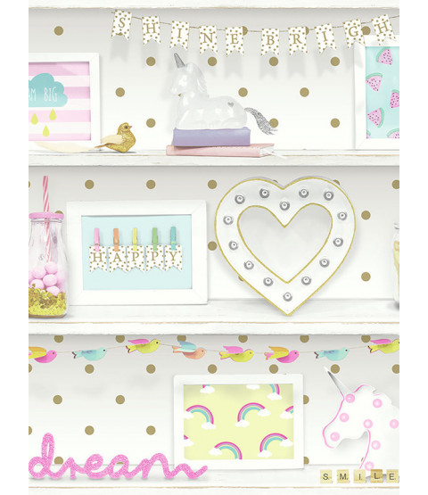Arthouse Girls Life Bookshelf Wallpaper - Multi - 696004