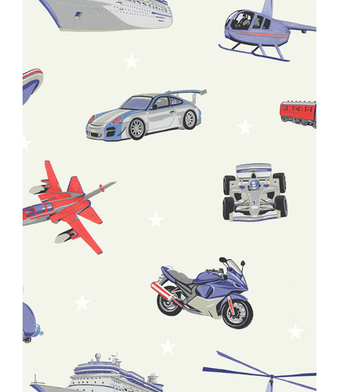 Zoom Away Vehicles Wallpaper Grey Arthouse 696204