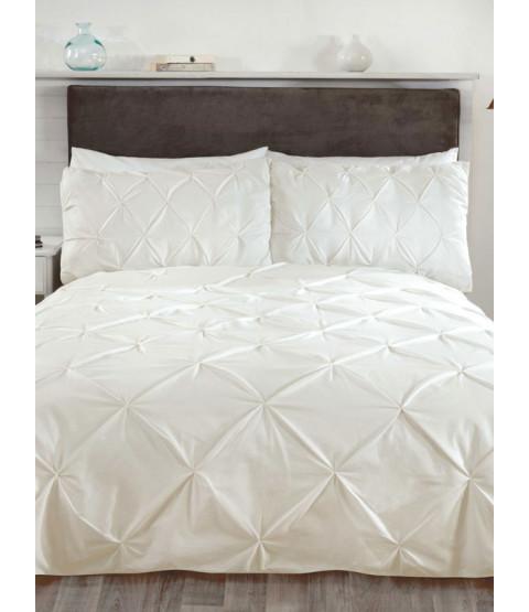 Balmoral Pin Tuck Cream Double Duvet Cover and Pillowcase Set