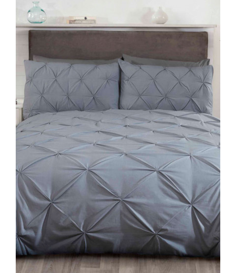 Balmoral Pin Tuck Grey Double Duvet Cover and Pillowcase Set