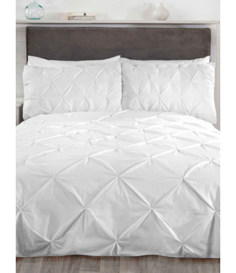 Balmoral Pin Tuck White Double Duvet Cover and Pillowcase Set
