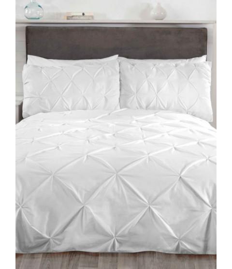 Balmoral Pin Tuck White King Size Duvet Cover and Pillowcase Set